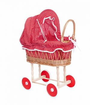 Pram wicker red & white dots