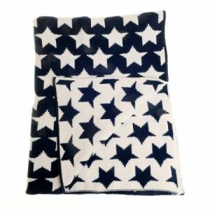 Navy Chenille Stars Zippy Blanket