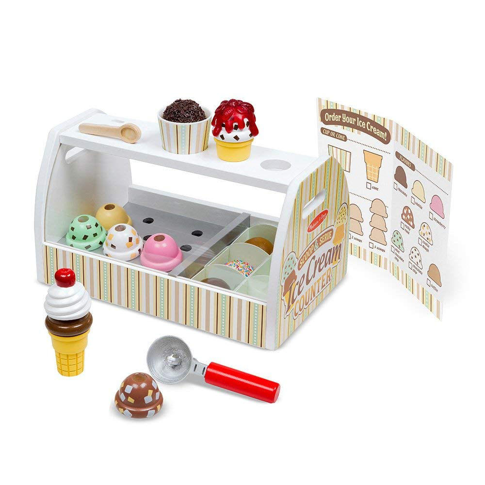 Melissa & Doug Wooden Scoop and Serve Ice Cream Counter