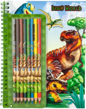 Dino World Colouring Book and Pencil Set