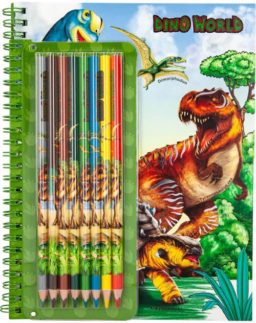 Dino World Colouring Book and Pencil Set