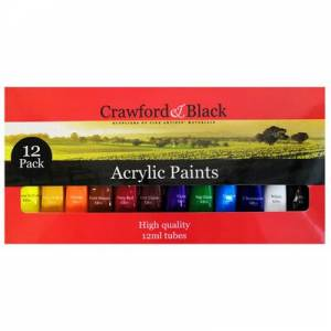 Crawford Acrylic Paints. 12 Pack. The Toy Shop Arts and Crafts.